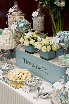 Tiffany & Co sweets table;  My dream Bridal Shower will definitely be Tiffany themed !! xo