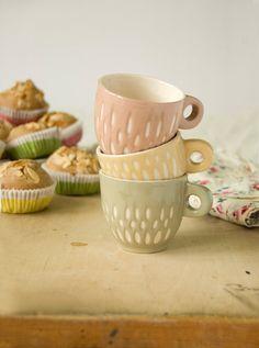 Espresso cups - unique handmade serving decorative pottery espresso coffee cups - pink