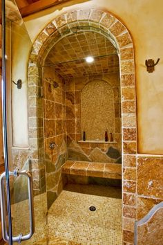 Shower   I think we could add on out back and the exterior stone would be the back wall of that shower.  ☺