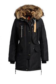 Down-filled hooded nylon long parka. The adjustable hood has a detachable real fur lining and trim. The shell fabric has undergone a special treatment that protects it from dirt and rain and has an inner lamination (WP: 10,000 mm – MVP: 10,000 g/sqm/24hrs). Taped seams on hood, shoulders and armholes. Multiple pockets include a spacious cargo pocket in front containing two smaller pockets, as well as, two inner pockets. The waist elastic and side slits guarantee a perfect fit. PJS patch on…