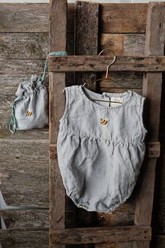Linen Romper Light Grey Baby Romper Washed Linen Hand Made