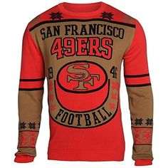 San Francisco 49ers Forever Collectibles KLEW Retro Sweater w/ Priority Shipping  https://allstarsportsfan.com/product/san-francisco-49ers-forever-collectibles-klew-retro-sweater-w-priority-shipping/  Officially Licensed Woven Graphics Throughout Rib Knit Collar, Cuffs and Waist