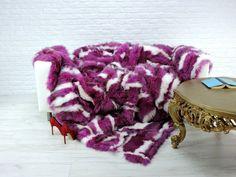"Luxury genuine fox fur throw, blanket, white and purple colour,90"" x 80"", #087"