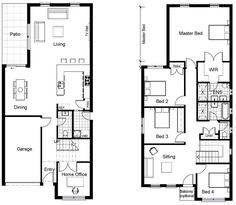 2 storey house plans for narrow blocks - Google Search SWAP DOWNSTAIRS AND UPSTAIRS