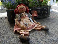 "Primitive Handmade Raggedy Ann Doll Vintage Fabrics Flag Americana Cloth 24""   eBay"