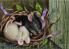 Spring Cute Mice Art Print Melody Lea Lamb ACEO by MelodyLeaLamb