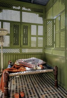 architecture interior home house design porch patio sunroom Morocco Marrakesh patterned screens green