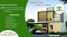 ‪#‎RamkySereneWoods‬ @Bengaluru is one place where all amenities are placed together for a Luxurious Lifestyle more important nearby all major land marks. For More Info - www.ramkyestates.com