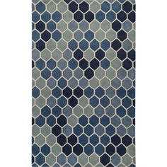 Paule Marrot Collection New Zealand Wool Area Rug in Blues - Surya Rugs