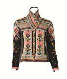 IVKO Balkan Black and Beige Jacquard Sweater with Shawl Collar