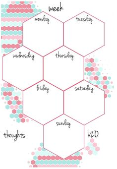 Free Filofax deposits + dividers, stickers & Co. to print - Filofax inserts -personal-pastel-colored-weekdays-honeycomb pattern - Bullet Journal Printables, Bullet Journal Layout, Bullet Journal Ideas Pages, Bullet Journal Inspiration, To Do Planner, Planner Pages, College Planner, College Tips, Planner Stickers