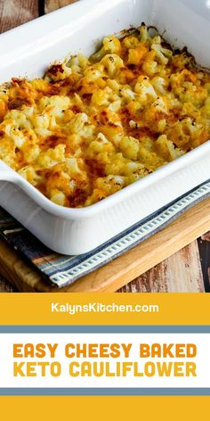 Cauliflower Gratin, Cauliflower Recipes, Cheesy Cauliflower, Low Carb Recipes, Cooking Recipes, Healthy Recipes, Healthy Meals, Free Recipes, Diabetic Recipes