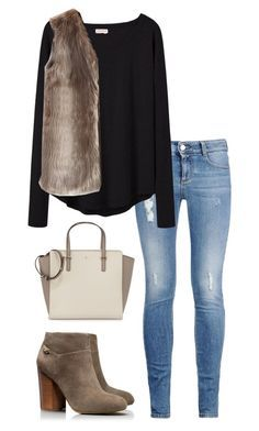 """""""fur vest"""" by kcunningham1 ❤ liked on Polyvore featuring STELLA McCARTNEY, Organic by John Patrick, Chicwish, Kate Spade and Tory Burch"""