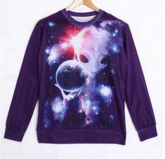 3d Galaxy alien sweatshirt for youth spring wear