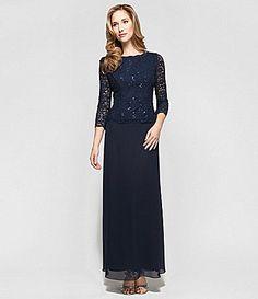 I love this dress!  3/4 sleeves, lace, gauzy overlay on skirt . . . plus I love blue!