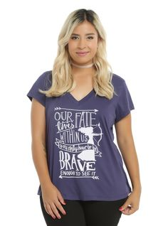 """<div>Are you brave enough to change your fate? You're at least brave enough to wear this tee from Disney's <i>Brave</i>. The navy shirt features a silhouette of Merida and her bow and arrow and text design that reads """"Our Fate Lives Within Us, You Only Have To Be Brave Enough To See It.""""</div><div><ul><li style=""""LIST-STYLE-POSITION: outside !important; LIST-STYLE-TYPE: disc !important"""">50% cotton; 50% polyester</li><li style=""""LIST-STYLE-POSITION: outside !important; LIST-STYLE-TYPE: disc…"""