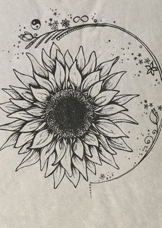 I love everything about this as a tatoo Sunflower Drawing, Sunflower Tattoos, Drawing Flowers, Flower Drawings, Sunflower Flower, Sunflower Mandala Tattoo, Watercolor Sunflower Tattoo, Sunflower Sketches, Sunflower Illustration