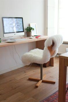 Modern Workspace  :: iMac - Ikea Faux Fur Bear Rug Over Chair