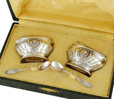 Bezon: Boxed French Sterling Silver Open Salt Cellars and Salt Spoons