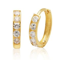Start her hoop earring collection with the 14k Yellow Gold Cubic Zirconia Channel-Set Baby Hoop Earrings.