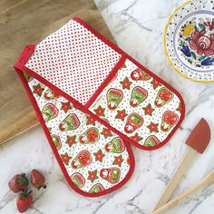 Gift Double Oven Gloves Cotton Mitt Padded Heat Resistance Insulated Kitchen