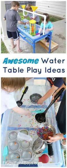 Awesome Water Table Play Ideas - LEGO boats, colorful eruptions, and more.  Love these summer kids activities!
