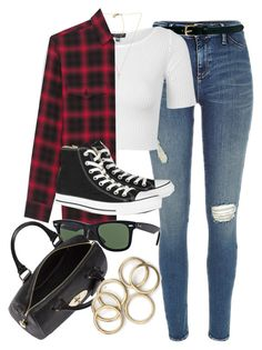 """""""Style #9801"""" by vany-alvarado ❤ liked on Polyvore featuring Warehouse, Topshop, Michael Kors, Yves Saint Laurent, Converse, Ray-Ban and Mulberry"""