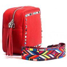Skórzana średnia torebka a'la Valentino z kolorowym paskiem HIT czerwona