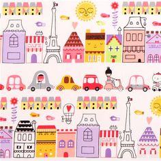white Paris Eiffel Tower house fabric 'Oui Oui Paris' Sweet Robert Kaufman USA 1