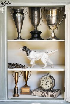 looking for one of these to keep kitchen utensils in via Sophia's: White-Glazed Chateau Grey Cabinet and Recent Finds Decor, Trophy Display, Trophy Shelf, Vintage House, Picture Design, Trophy Collection, Grey Cabinets, Trophy Rooms, Victorian Design