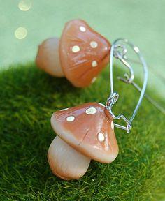 Mushroom Earrings Woodland Forest Mori Girl by sparklingbagcandy.com $11.99 free shipping