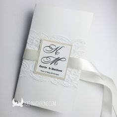 Elegant Lace Wedding Invitation With Ribbon Bow Two Layers Insert