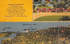 Pensacola Florida~Bayside Tourist Court Motel~Postcard 1940s