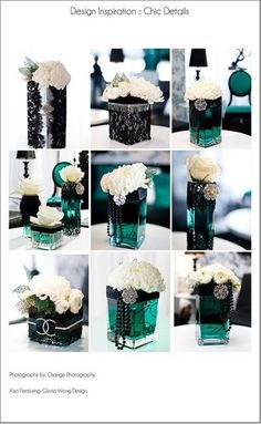 black/ teal lace & pearls centerpiece / wedding - Juxtapost by AngelfaceCreative