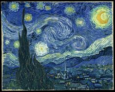"""""""La noche estrellada"""" es una obra maestra del pintor postimpresionista Vincent van Gogh. El cuadro muestra la vista exterior durante la noche desde la ventana del cuarto del sanatorio de Saint-Rémy-de-Provence, donde se recluyó hacia el final de su vida. Sin embargo, la obra fue pintada durante el día, de memoria. Data de mediados de 1889, trece meses antes del suicidio de Van Gogh."""