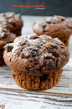 Chocolate Yogurt Muffins are light, hearty and loaded with chocolate chips. Their outside is slightly chewy, inside is soft and fluffy.| giverecipe.com | #muffins