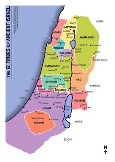 map of the 12 tribes of Israel. The Tribe of Levi did not received land, but 46 cities, 6 of which were Cities of Refuge. Joseph had no land, but his two sons, Manasseh and Ephraim did. Terre Promise, Cultura Judaica, Heiliges Land, Bible Mapping, 12 Tribes Of Israel, Religion, Bible Knowledge, Holy Mary, Promised Land