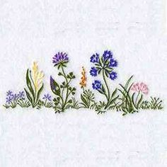 This free embroidery design is a bottom edge flower border.