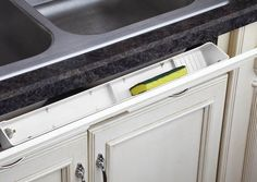 "22, 24, 30, 45 degree tilt, might work best on my longer pieces  Rev-A-Shelf LD-6591-22-11-1 | Wasted space is a thing of the past with the addition of our economical deluxe molded sink front trays. The three custom widths 22"", 24"" and 30-1/2"" are available in white or almond. Sold individually with 45 degree pivot hinges."
