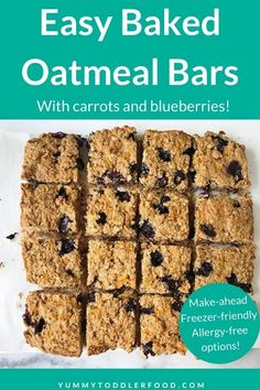 These easy Oatmeal Bars are a yummy snack or breakfast to share with the kids. They have carrots and blueberries, plus whole grains and protein! #oatmealbars #healthybreakfastbars #toddlersnack #toddlerbreakfast #glutenfree Healthy Diet Recipes, Healthy Baking, Healthy Foods To Eat, Baby Food Recipes, Snack Recipes, Kid Recipes, Dessert Recipes, Breakfast Bars Healthy, Oatmeal Breakfast Bars
