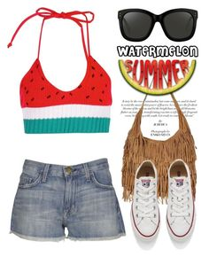 """Watermelon 1788"" by boxthoughts ❤ liked on Polyvore featuring Current/Elliott, Topshop, Linda Farrow, Converse, watermelon and contestentry"