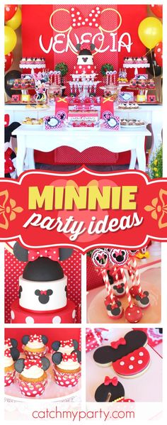Take a look at this pretty Minnie Mouse birthday party! The cupcakes are so pretty!! See more party ideas and share yours at CatchMyParty.com #minniemouse#girlbirthday