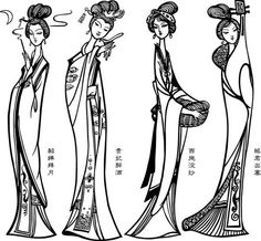 古代四大美女白描