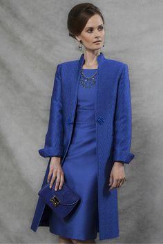 Brocade Dress Coat in Sapphire - Vicky