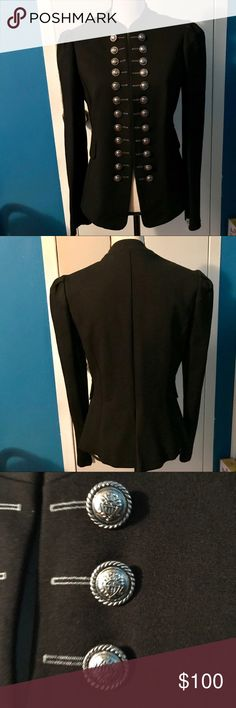 Gorgeous Black Joseph Ribkoff Blazer All black Joseph Ribkoff Blazer accented with decorative buttons. It does have padded shoulders but no pockets (flaps are for looks). There are two small hooks on the inside to keep the Blazer closed. No stains or tears. In EUC!  SIZE: 8 (Medium). Joseph Ribkoff Jackets & Coats Blazers