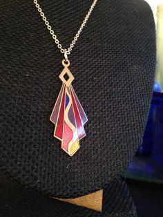 Cloisonne Pendant, cloisonne pendants,  Art Deco Necklace, Vintage cloisonne, art deco necklace, cloisonne pendants, necklaces art deco,N129 by DuckCedar on Etsy