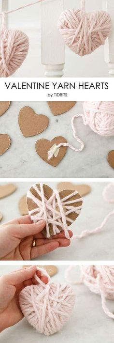 Valentine Yarn Heart #valentinesday #valentinesdaygiftideas #artsandcraftsvideos,