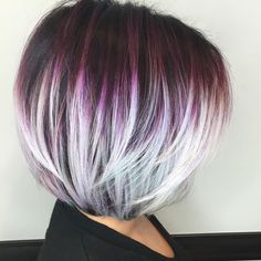 Purple Bob With White Highlights, Super cute!Purple Bob With White Highlights - More for the transition idea rather than the colorsawesome 20 Layered Bob Styles: Modern Haircuts with Layers for Any Occasion.I would love to do this Bob Haircut with Bo Layered Bob Hairstyles, Hairstyles Haircuts, Cool Hairstyles, Hairstyle Men, Newest Hairstyles, Wedding Hairstyles, Hairstyle Images, Hairstyles Videos, Blonde Hairstyles