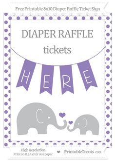 Free Pastel Dark Plum Dotted  Elephant 8x10 Diaper Raffle Ticket Sign