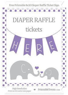 Free Pastel Dark Plum Dotted  Elephant 8x10 Diaper Raffle Ticket Sign